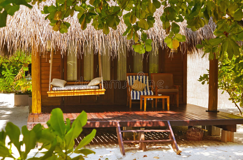 Pavillon de plage - Maldives photo stock