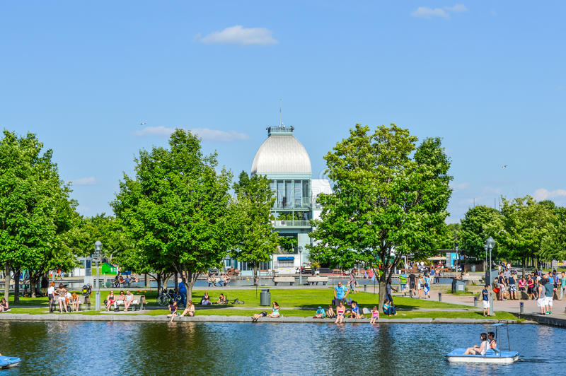 Pavillon du bassin Bonsecours. Montreal, Canada - July 17, 2015: Pavillon du bassin Bonsecours. People may be seen around royalty free stock images