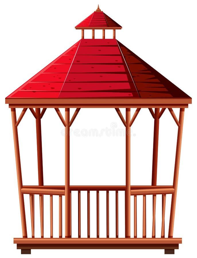Pavillon en bois avec le toit rouge illustration stock