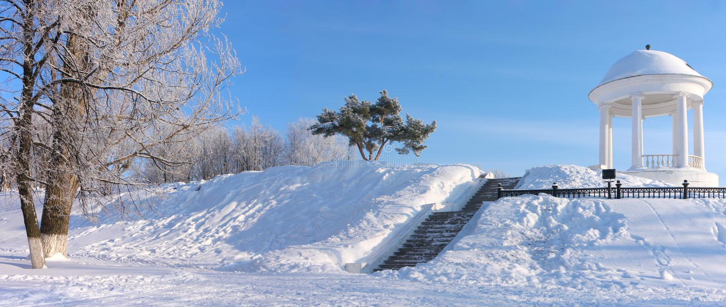 Pavillon en Russie. L'hiver images libres de droits