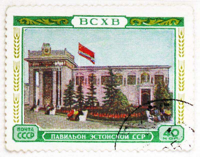 Pavillon of the Estonian SSR, All-Union Agricultural Exhibition (BCXB) serie, circa 1955. MOSCOW, RUSSIA - AUGUST 4, 2019: Postage stamp printed in Soviet Union royalty free stock photo