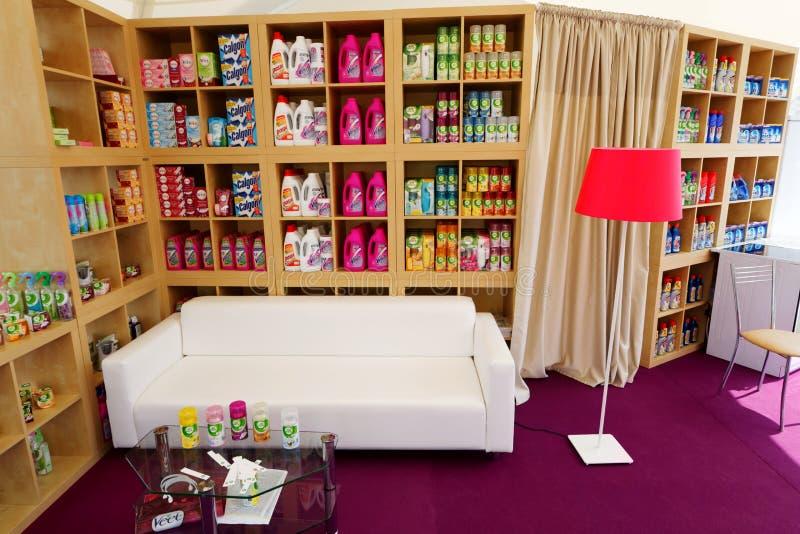 Pavillon für den Verkauf von Haushaltschemikalienwaren lizenzfreies stockbild
