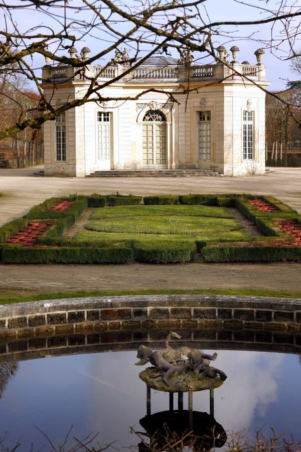 The Pavillon Français - Versailles. The Pavillon français is a cause garden built for Louis XV and Madame de Pompadour by Ange-Jacques Gabriel in the heart stock images