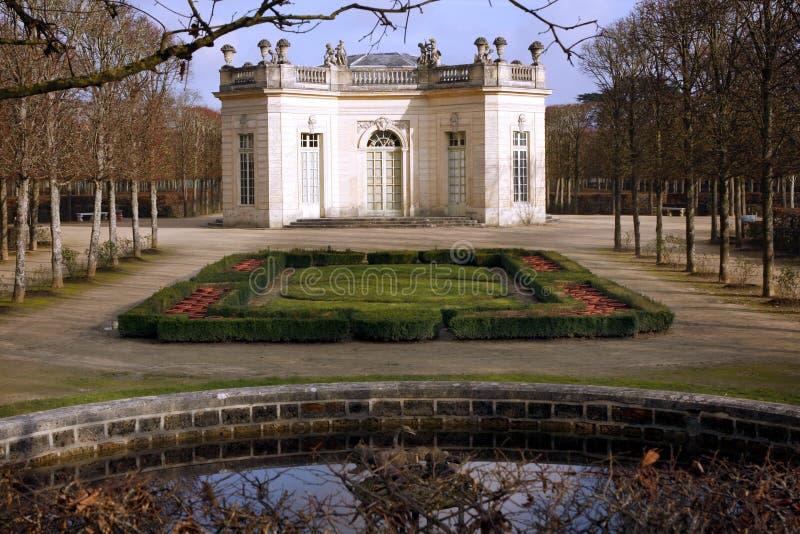 The Pavillon Français - Versailles. The Pavillon français is a cause garden built for Louis XV and Madame de Pompadour by Ange-Jacques Gabriel in the heart stock image