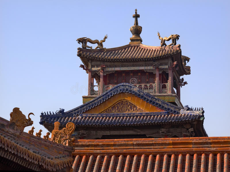 Pavillon interdit Pékin de dragon de ville image stock