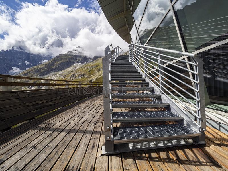 Pavillon in Courmayeur area. Pavillon intermediate station of the cableway called Skyway in Courmayeur stock photography