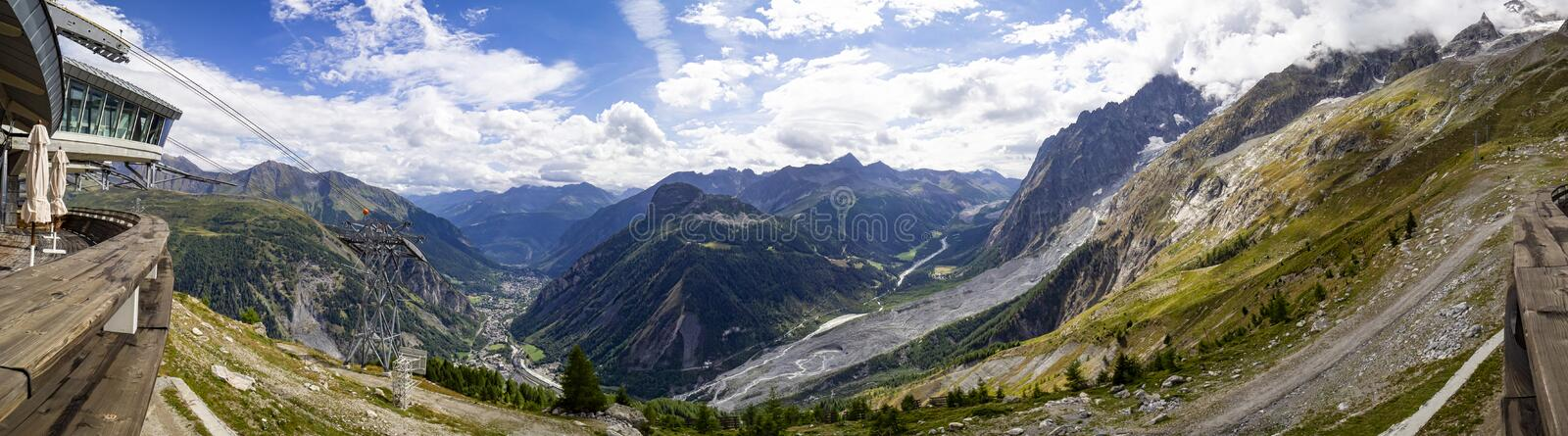 Pavillon in Courmayeur area. Pavillon intermediate station of the cableway called Skyway in Courmayeur royalty free stock photo