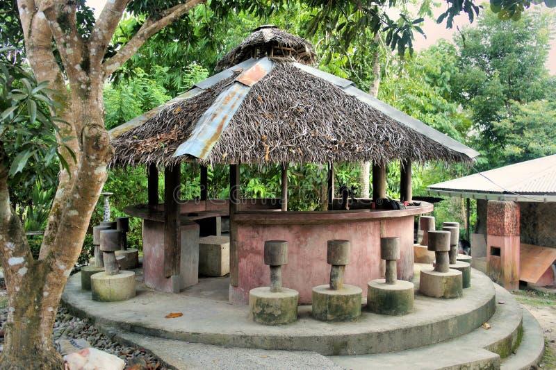 Pavillon mit einem Strohdach. lizenzfreie stockbilder
