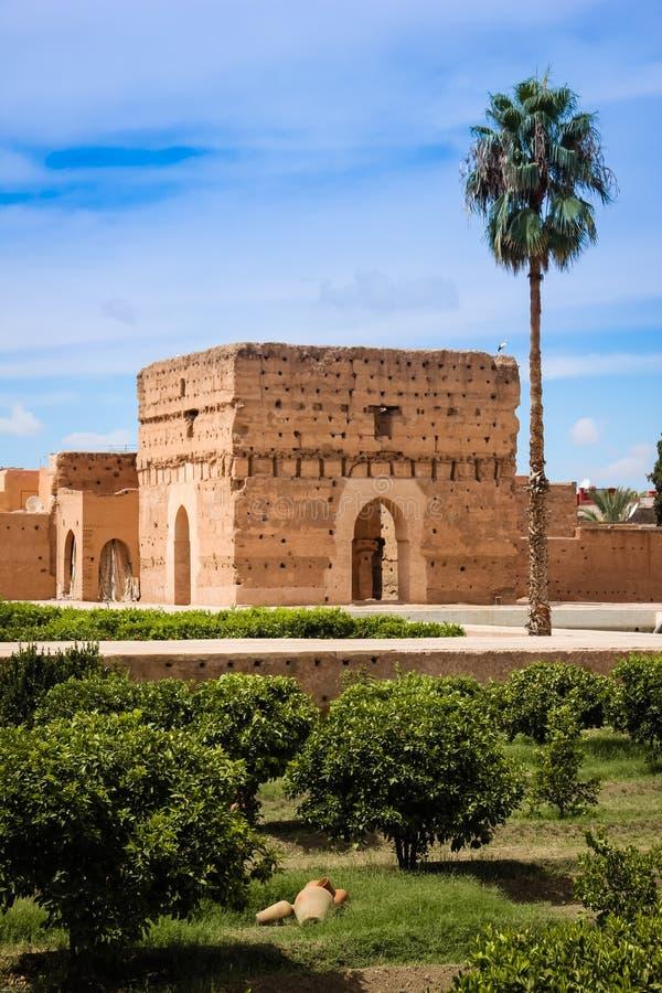 Pavillon an Palast EL Badi marrakesch marokko lizenzfreie stockbilder