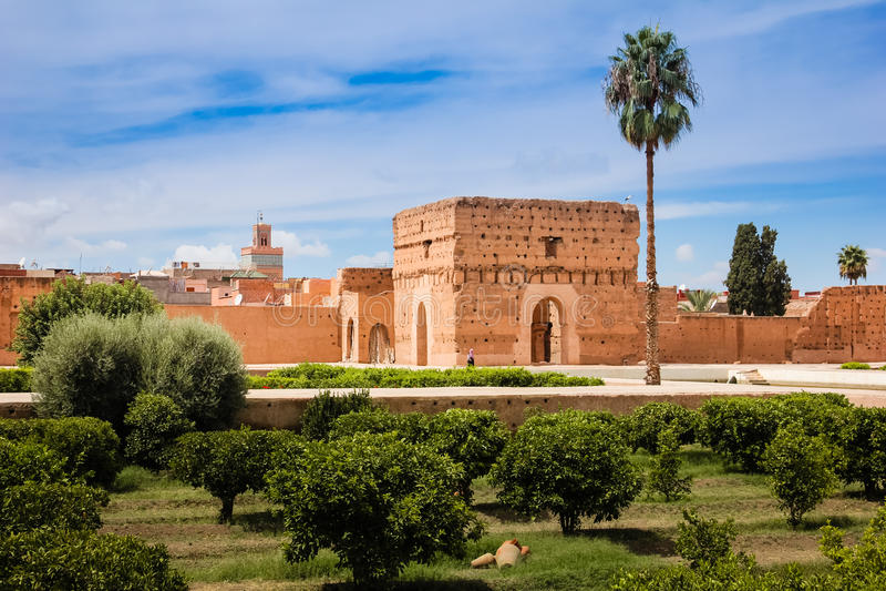 Pavillon an Palast EL Badi marrakesch marokko stockfotografie