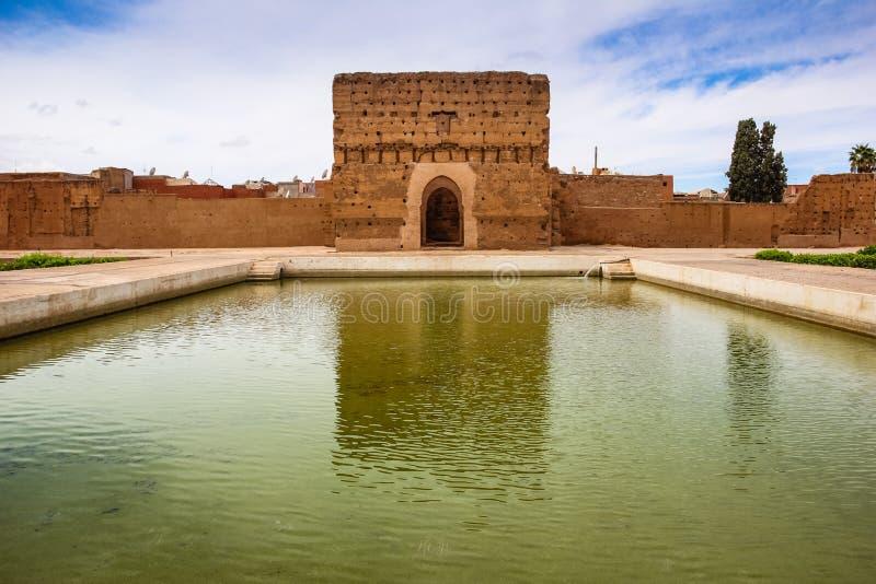 Pavillon an Palast EL Badi marrakesch marokko lizenzfreie stockfotografie