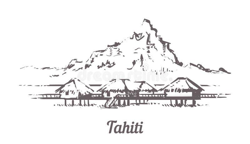 Pavillons d'overwater d'hôtel du Tahiti de plage dans l'océan de lagune de récif coralien illustration stock