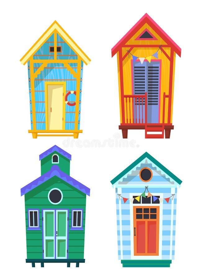 Pavillons, hutte ou stations de maître nageur avec la bouée de sauvetage illustration stock