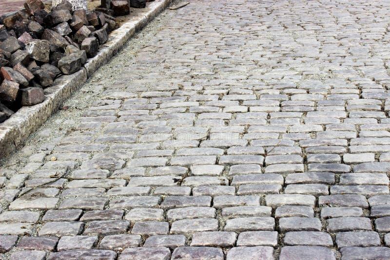 Pavimentazione pavimentata della via Metà del XIX secolo immagine stock libera da diritti