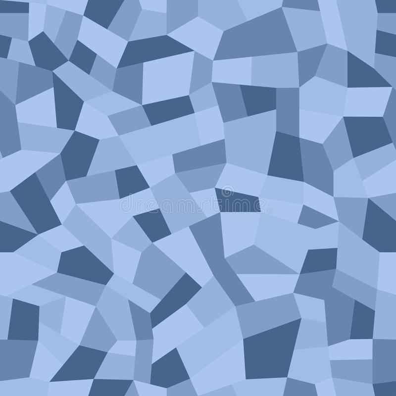 Pavimenti di mosaico dei chip di marmo Pavimenta il terrazzo, modello senza cuciture del mosaico del polimero Fondo blu astratto illustrazione vettoriale