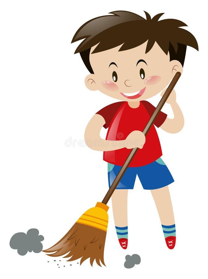 Pavimento ampio del ragazzo con la scopa royalty illustrazione gratis