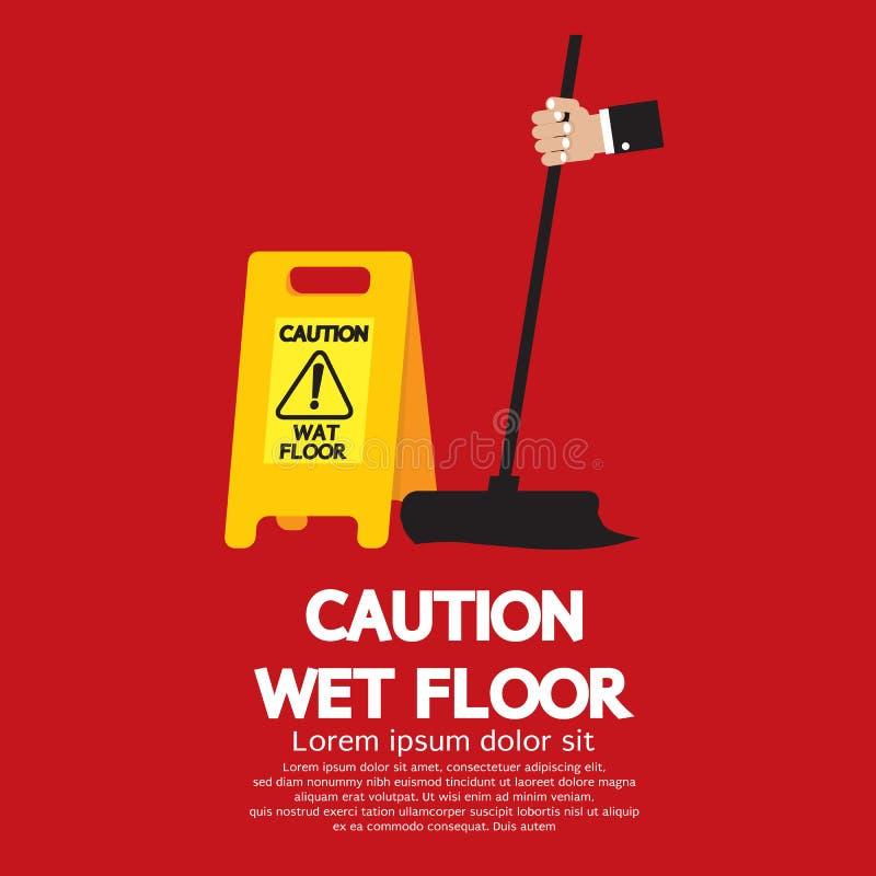 Pavimento bagnato di cautela illustrazione di stock