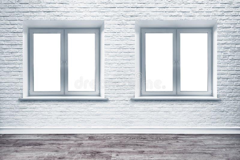 Pavimento bianco di legno della plancia e del muro di mattoni fotografia stock