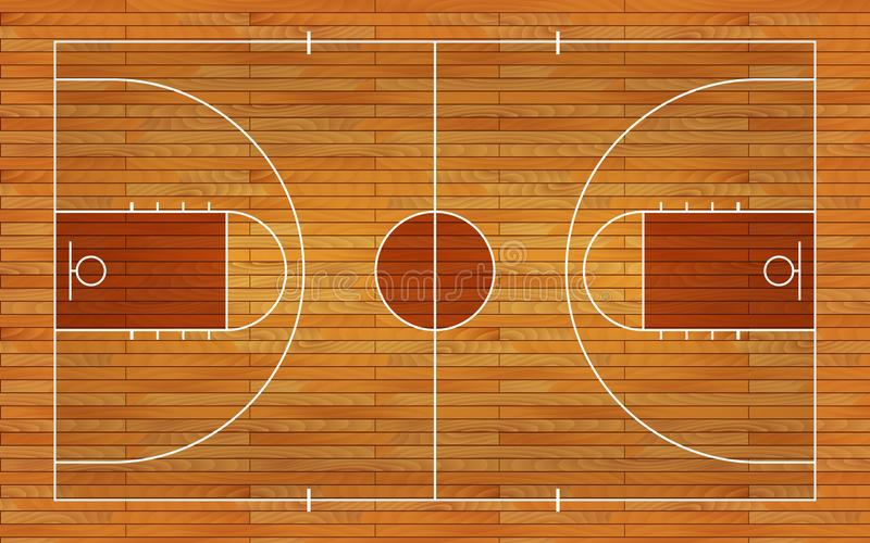 Pavimento del campo da pallacanestro con la linea sul fondo di legno di struttura Illustrazione di vettore illustrazione vettoriale