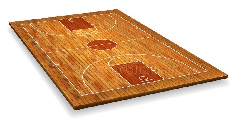 Pavimento del campo da pallacanestro di prospettiva con la linea sul fondo di legno di struttura Illustrazione di vettore illustrazione vettoriale