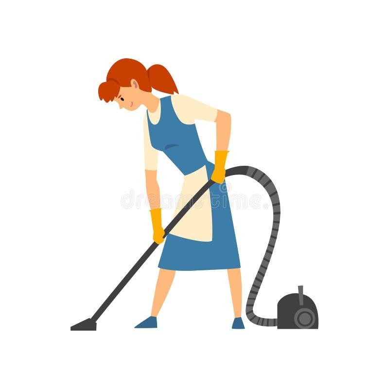Pavimento di aspirazione della donna di pulizia, domestica Character Wearing Uniform con il vestito blu e grembiule bianco, vetto illustrazione vettoriale