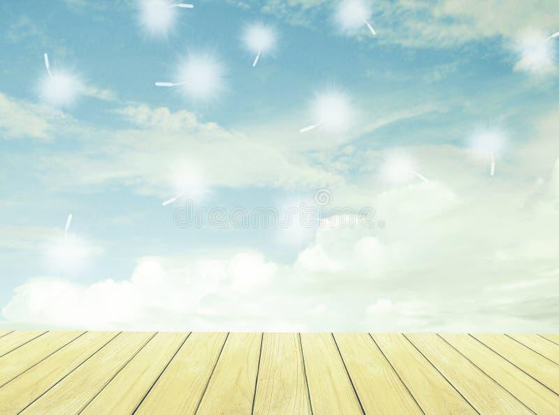 Pavimento di legno e del cielo immagini stock