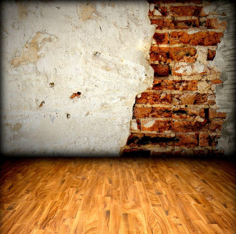Pavimento di legno e del muro di mattoni fotografia stock