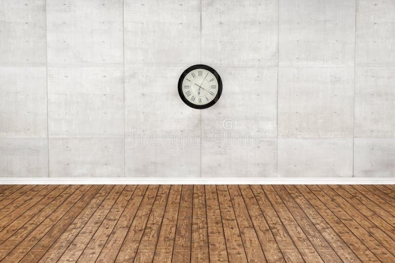 Pavimento di legno vuoto e stanza bianca della parete rappresentazione 3d fotografia stock libera da diritti