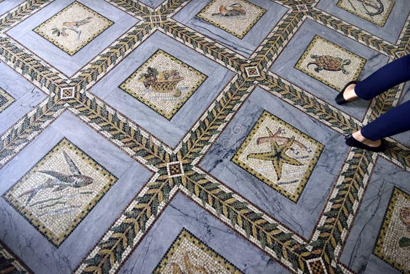 Pavimento di mosaico della chiesa di visitazione, Gerusalemme fotografia stock libera da diritti