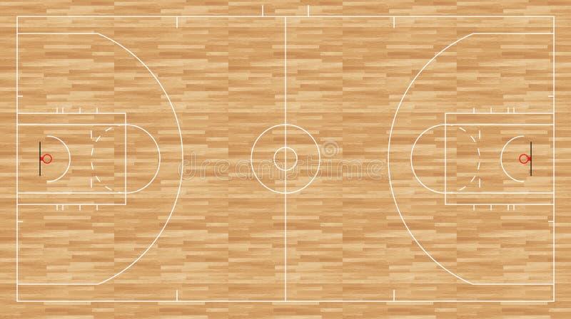 Pavimento di pallacanestro - nba di regolamento illustrazione di stock