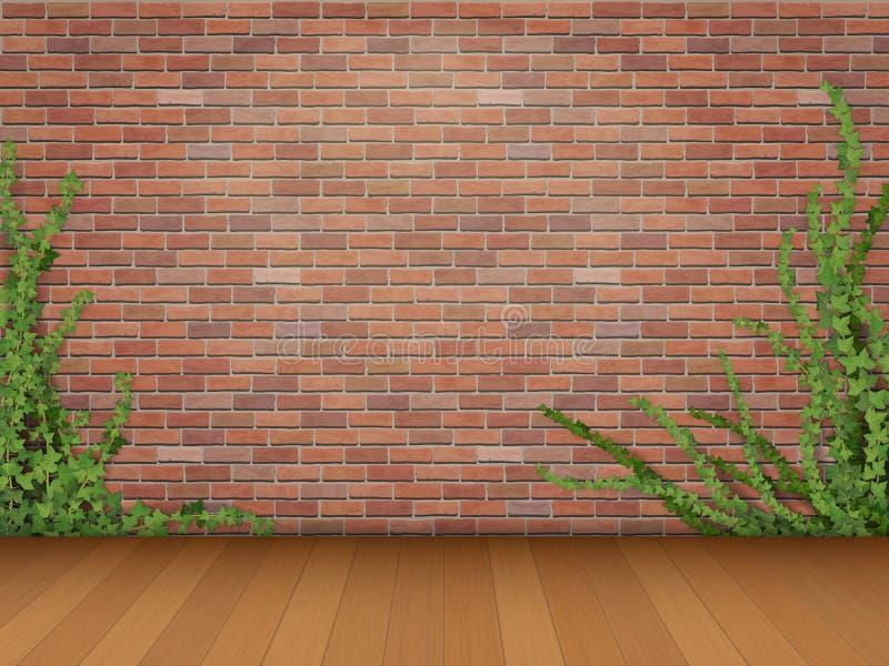 Pavimento di parquet rosso del muro di mattoni dell'edera illustrazione di stock