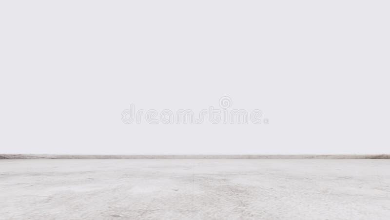 Pavimento di pietra di marmo bianco con la parete bianca, spazio vuoto interno immagine stock libera da diritti