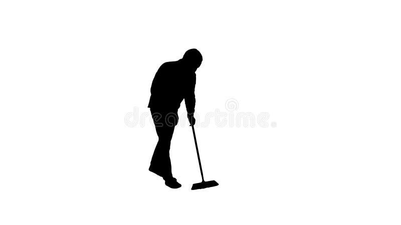 Pavimento di pulizia del giovane della siluetta con la spazzola royalty illustrazione gratis