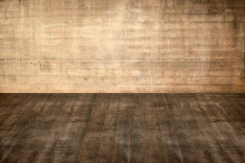 Pavimento e parete concreti dell'illustrazione nel vecchio interno illustrazione vettoriale