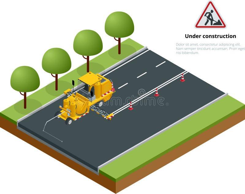 Pavimento isométrico Asphalt Road Marking Paint e striping com a máquina termoplástico do aplicador de pulverizador durante a est ilustração stock