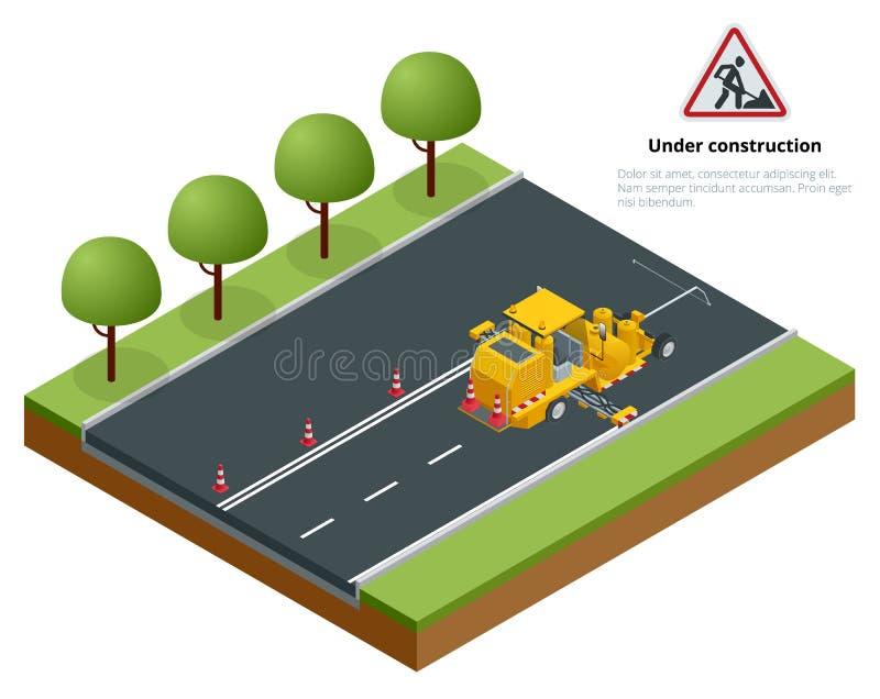 Pavimento isométrico Asphalt Road Marking Paint e striping com a máquina termoplástico do aplicador de pulverizador durante a est ilustração royalty free