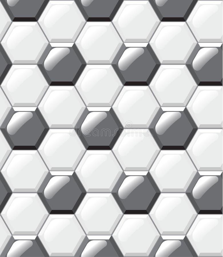 Pavimento non tappezzato bianco e nero, esagoni, modello senza cuciture realistico illustrazione di stock