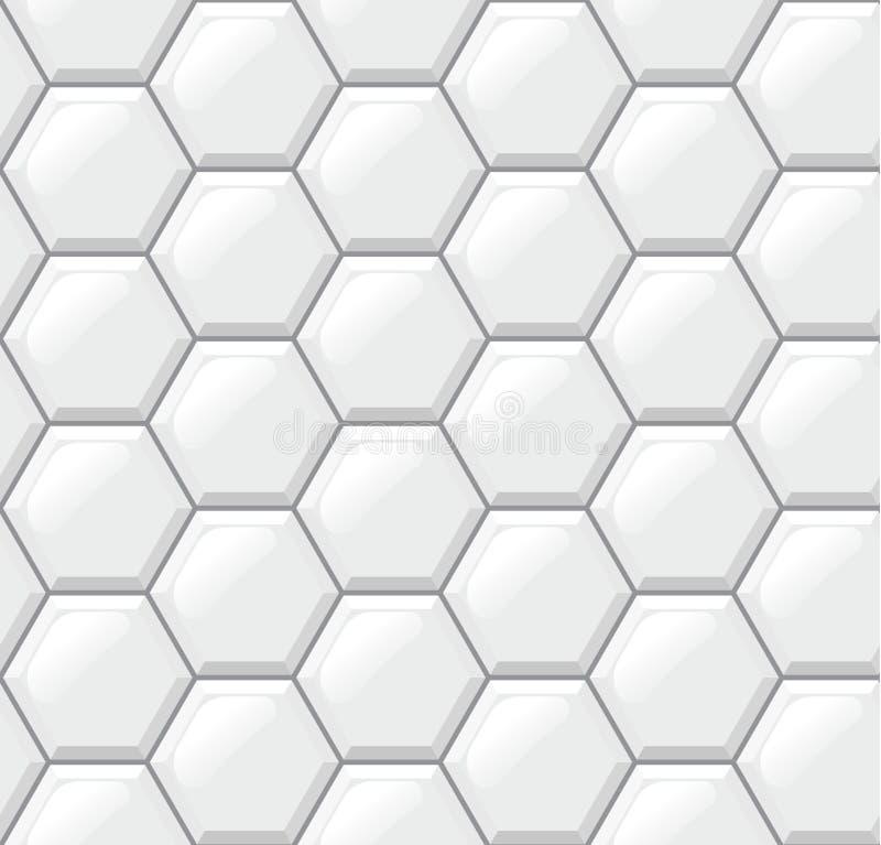Pavimento non tappezzato bianco, esagoni, modello senza cuciture realistico illustrazione vettoriale