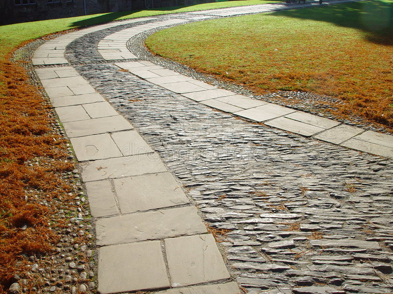 Paving in the garden of Dartington Hall royalty free stock photo