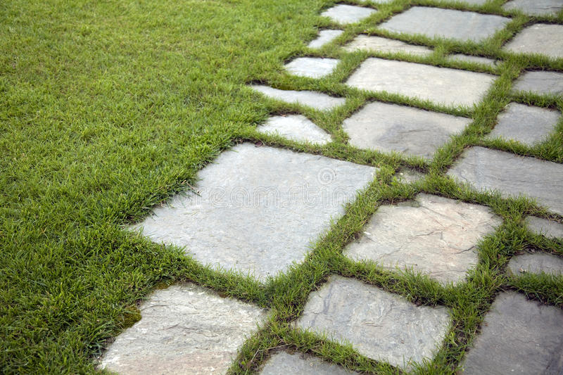 Paving stone. Over grown lawn and slate patio, lush green landscape sunlight.Abstract background of paving stone royalty free stock photos
