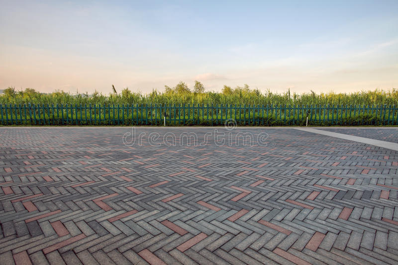 Paving stone driveway. In the park royalty free stock photography
