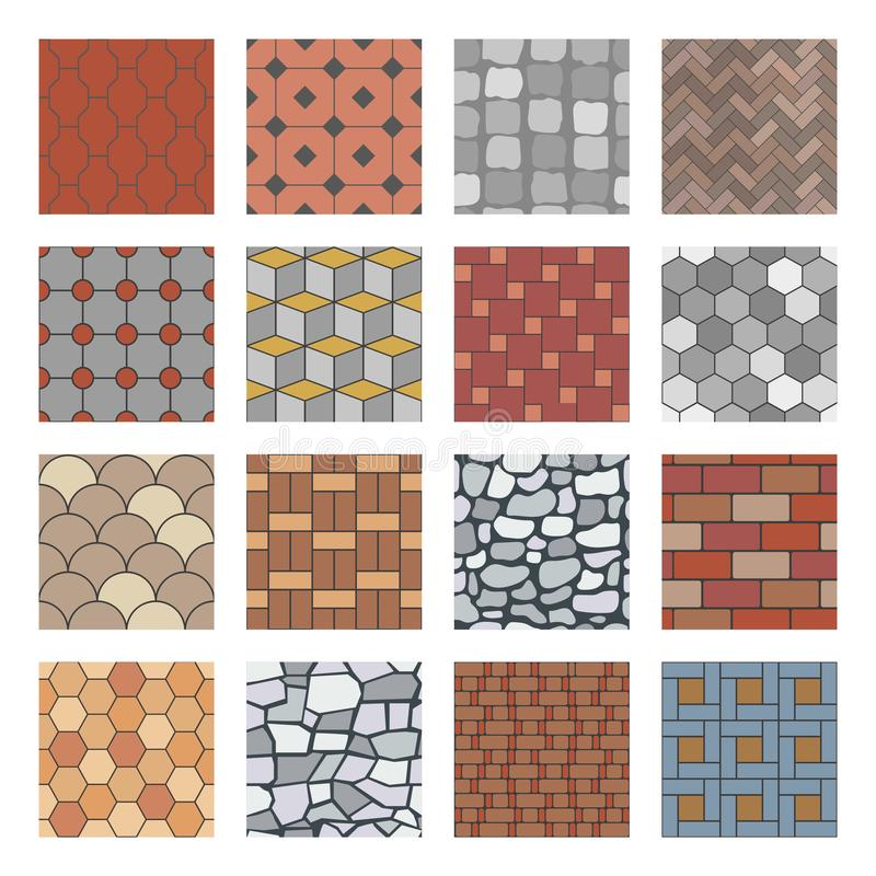 Paving stone pattern. Brick paver walkway, rock stones slab and street pavement floor block seamless vector patterns set stock illustration