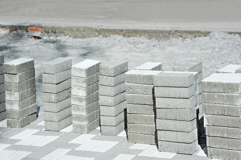 Paving stone stack. Stack of paving stone on construction site royalty free stock photo