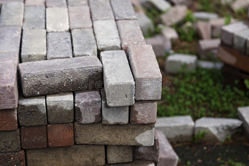 Paving stones stacked in piles stock photography