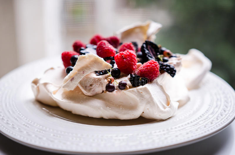 Pavlova cake with berries stock photography
