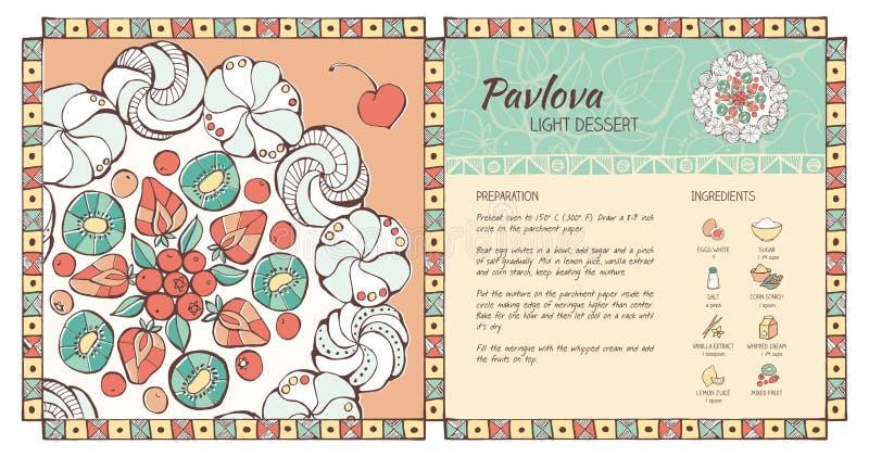 Pavlova dessert stock vector. Illustration of kiwi, dessert - 61079818
