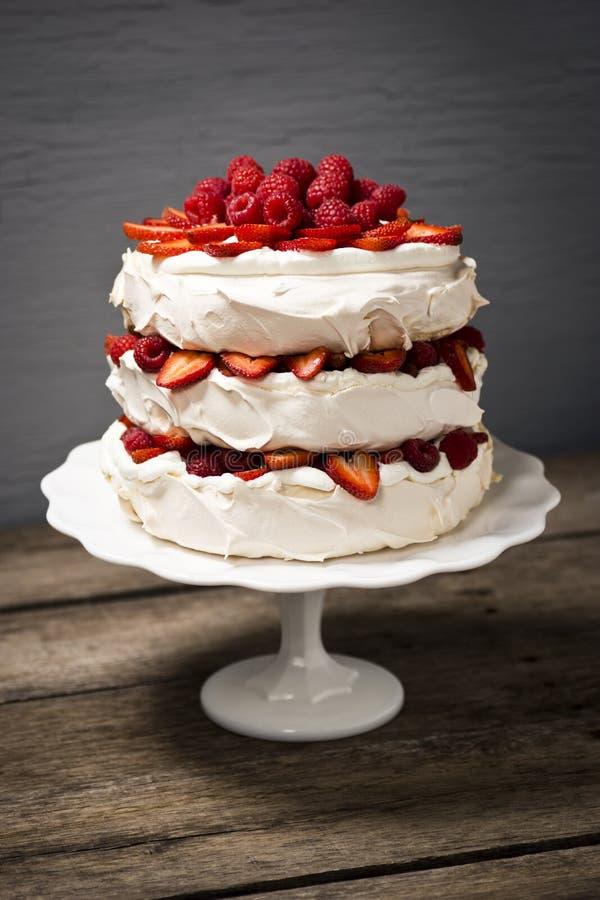 Pavlova, een Gelaagde Schuimgebakjecake met Fruit en Slagroom royalty-vrije stock afbeelding