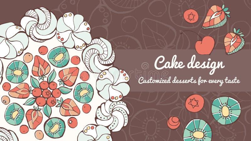 Pavlova y bandera del diseño de la torta stock de ilustración