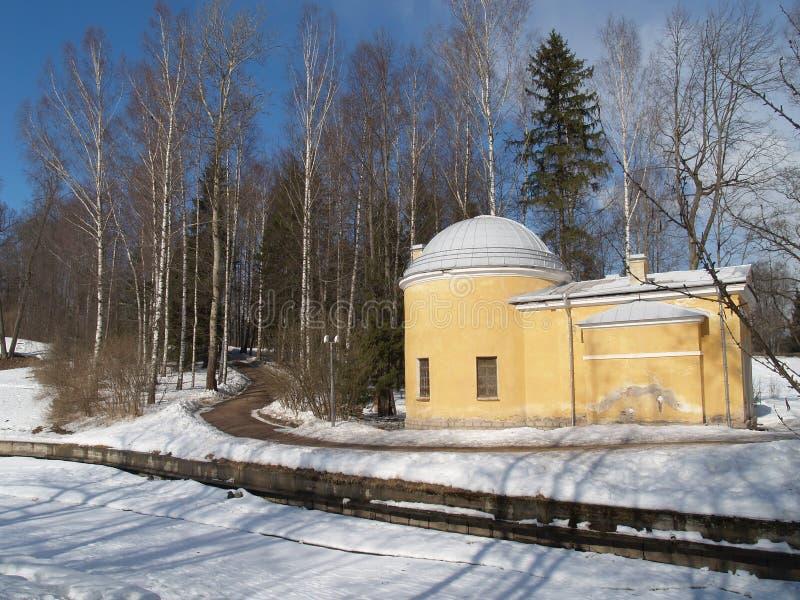 Pavlovsk Baño frío del pabellón en el invierno fotos de archivo libres de regalías