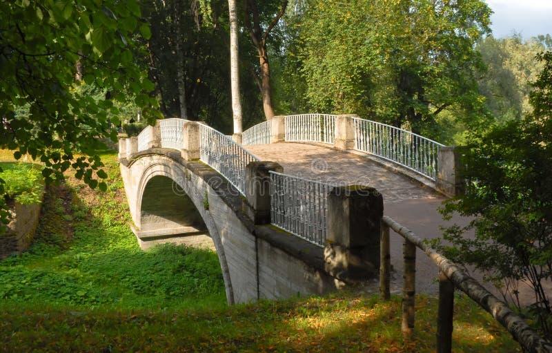 Pavlovsk Brug in het park stock foto
